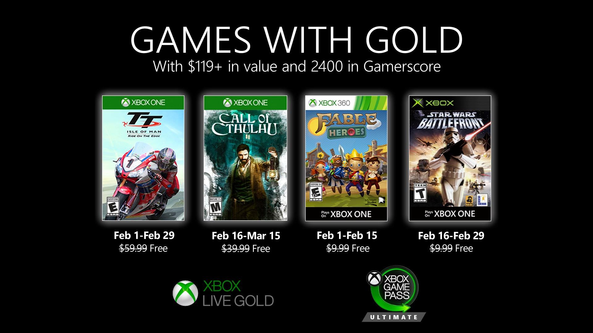Představeny únorové hry pro předplatitele Xbox Live Gold