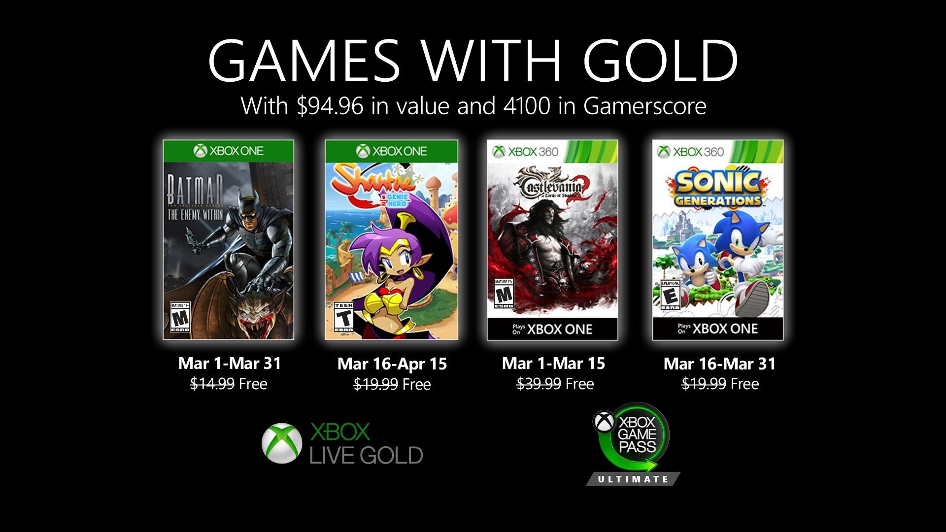 Oznámeny březnové hry Games with Gold