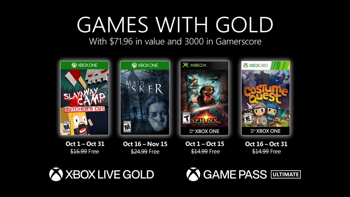 Oznámeny říjnové hry pro Xbox Live Gold (2020)