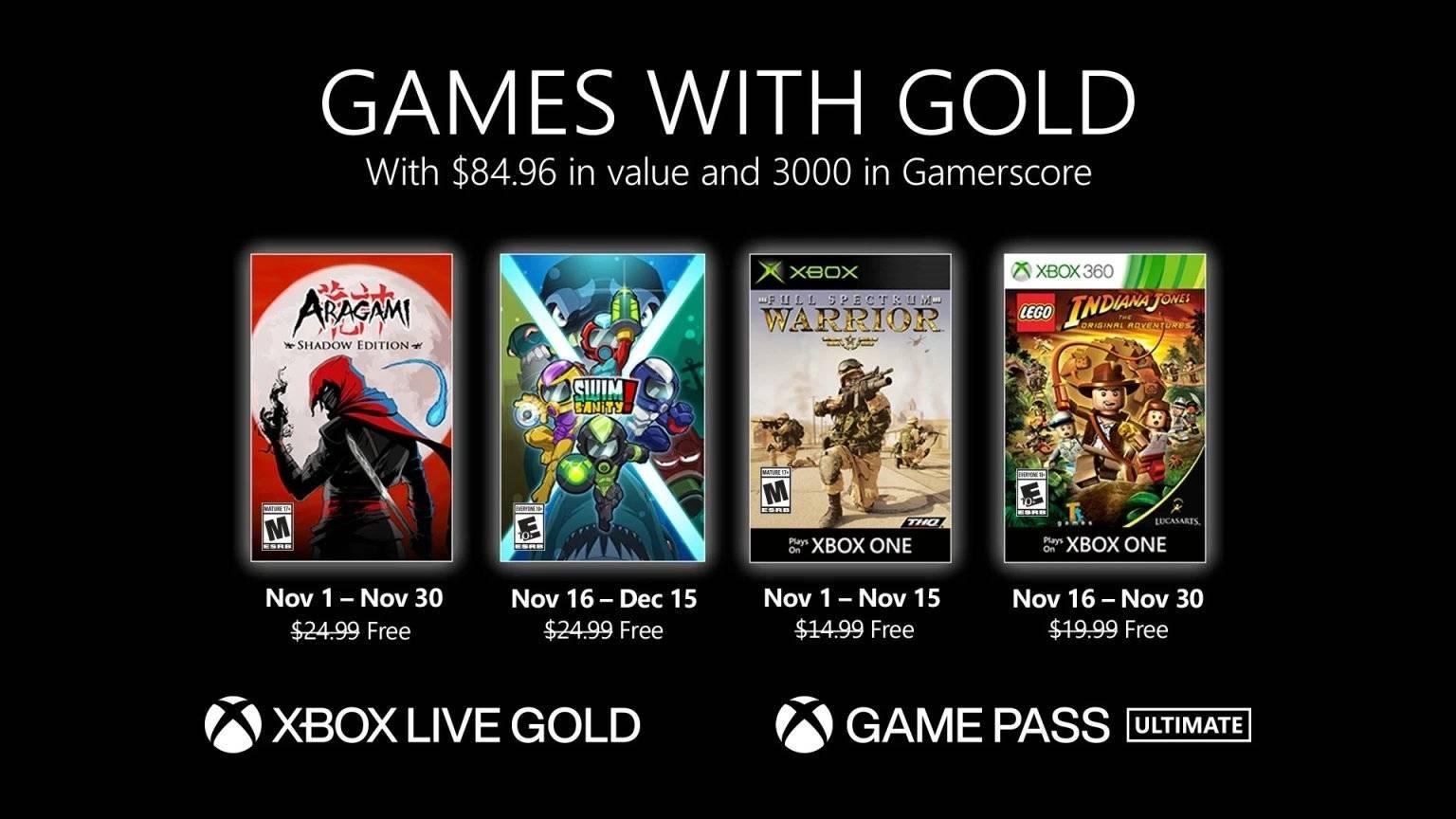 Microsoft oznámil hry v programu Games with Gold pro listopad