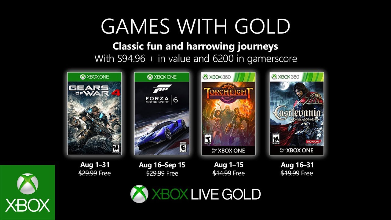 Představena srpnová nabídka Xbox Live Gold