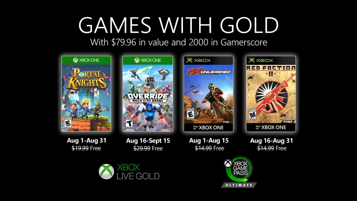 Představeny srpnové hry Games with Gold (2020)