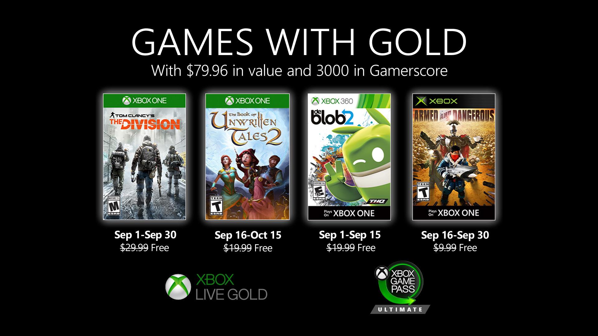 Představeny hry měsíce září pro Xbox Live Gold (2020)